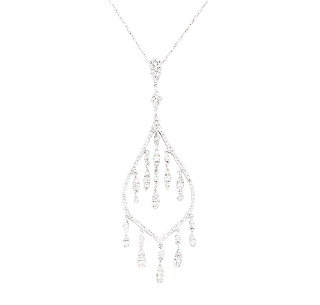 18KT White Gold 1.30 ctw Diamond Pendant & Chain