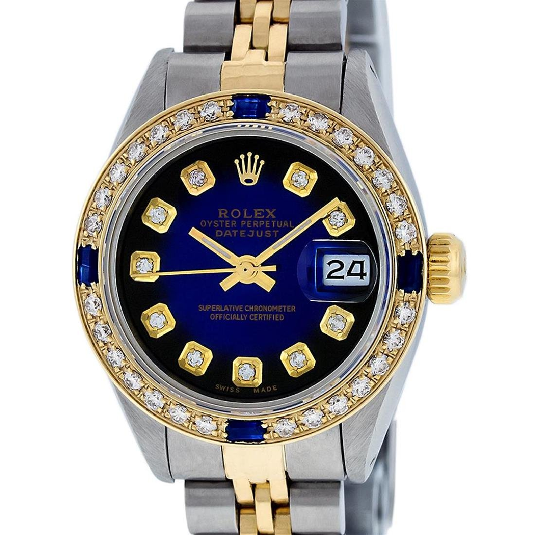 Rolex Ladies Two Tone Blue Vignette Diamond & Sapphire