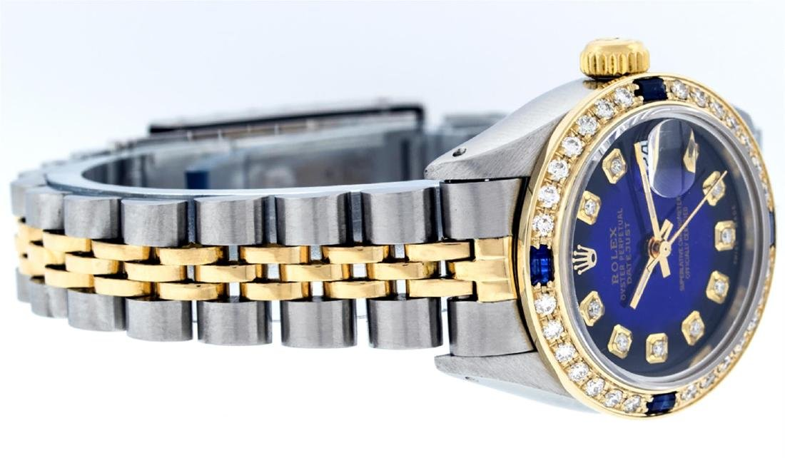 Rolex Ladies Two Tone Blue Vignette Diamond & Sapphire - 2