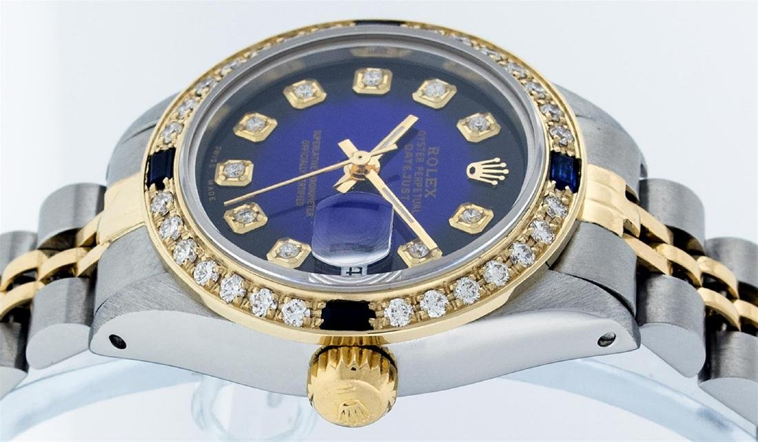 Rolex Ladies Two Tone Blue Vignette Diamond & Sapphire - 9