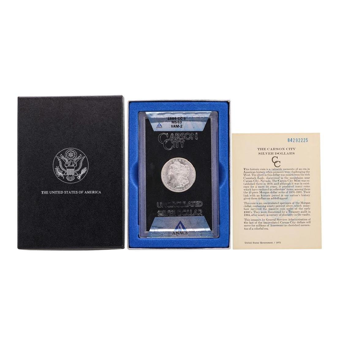 1884-CC $1 Morgan Silver Dollar Coin w/ Box GSA & COA