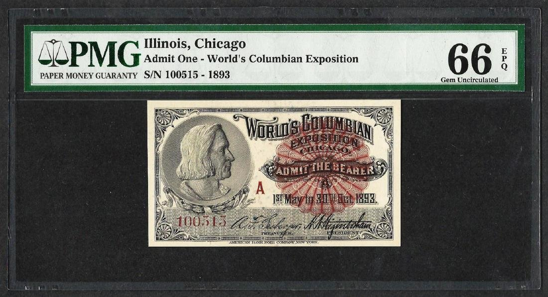 1893 World's Columbian Exposition Ticket Columbus PMG