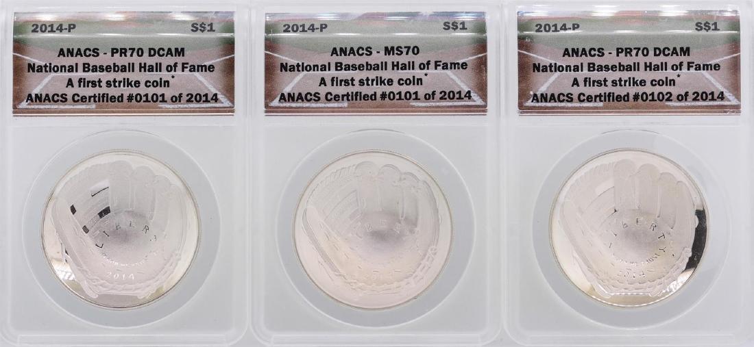 Lot of (3) 2014-P $1 National Baseball Hall of Fame