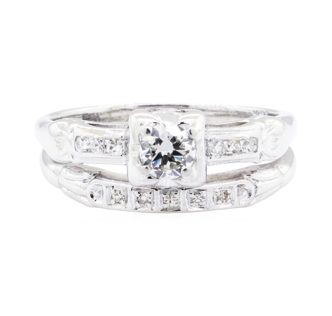 18KT White Gold 0.35 ctw Diamond Ring and Band - 2