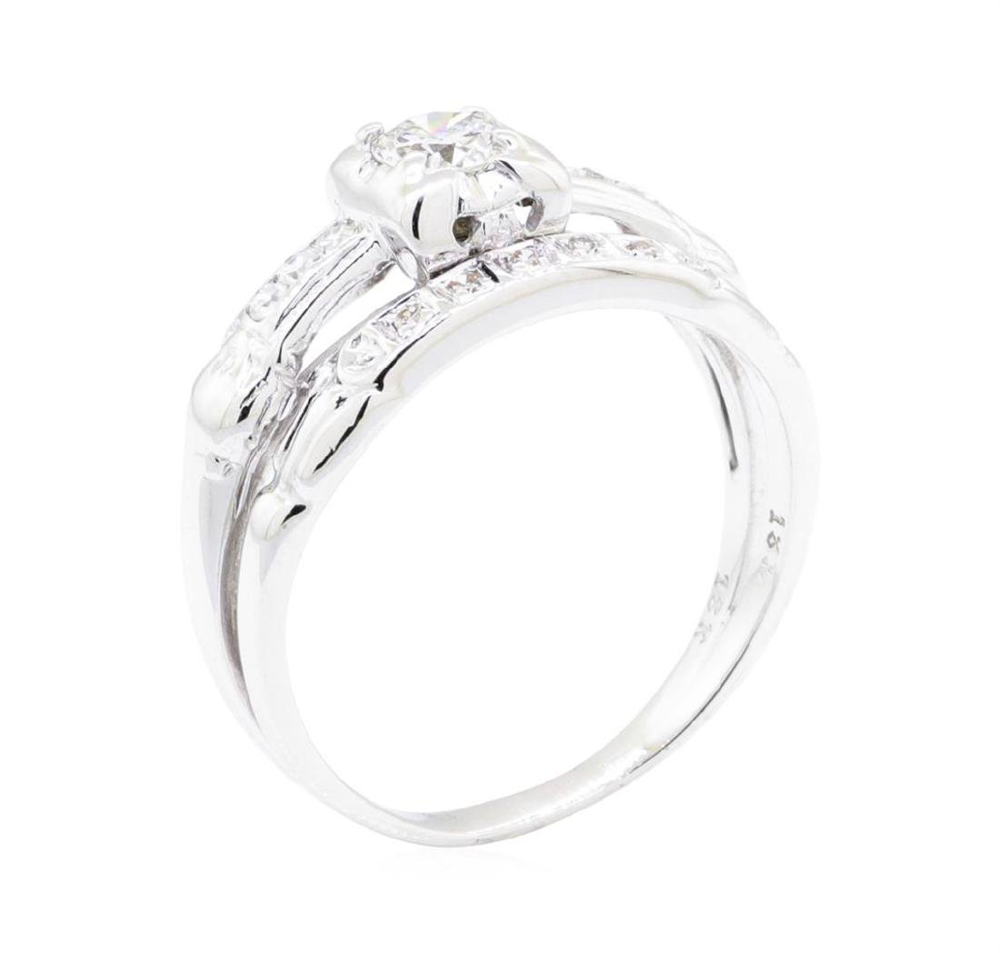 18KT White Gold 0.35 ctw Diamond Ring and Band - 4