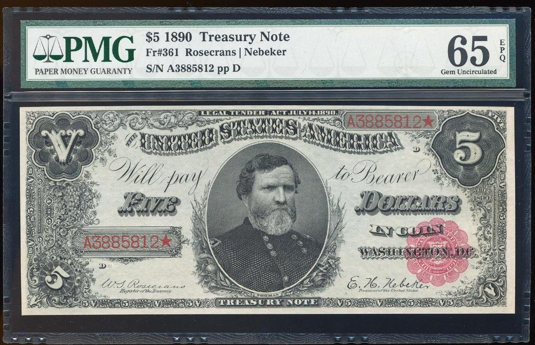 1890 $5 Treasury Note Fr.361 PMG Gem Uncirculated 65EPQ