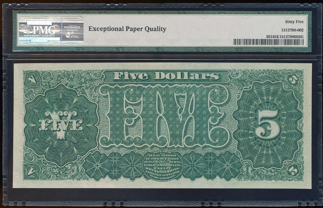 1890 $5 Treasury Note Fr.361 PMG Gem Uncirculated 65EPQ - 2