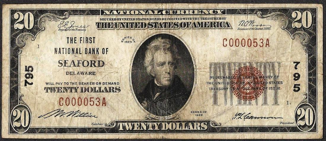 1929 $20 National Currency Note First NB of Seaford, DE