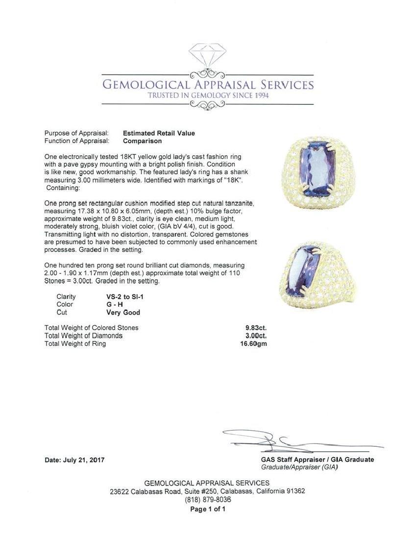 18KT Yellow Gold 9.83 ctw Tanzanite and Diamond Ring - 5