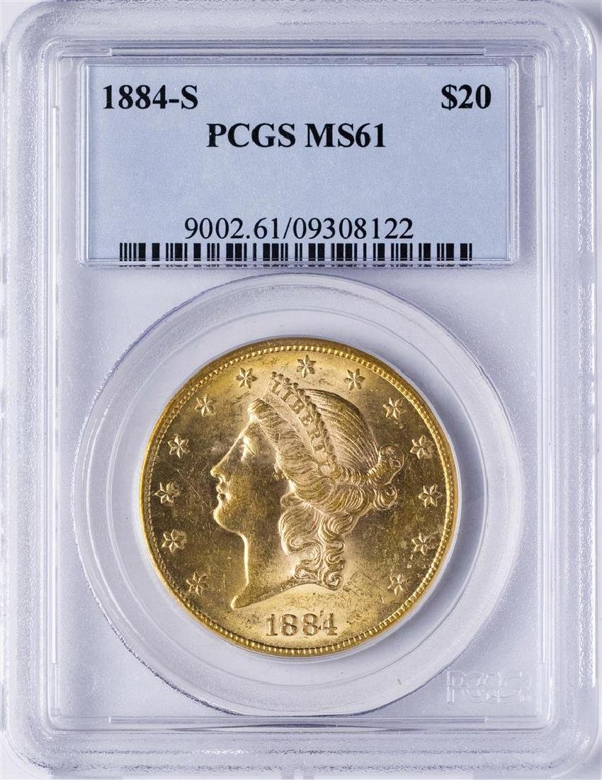 1884-S $20 Liberty Head Double Eagle Gold Coin PCGS