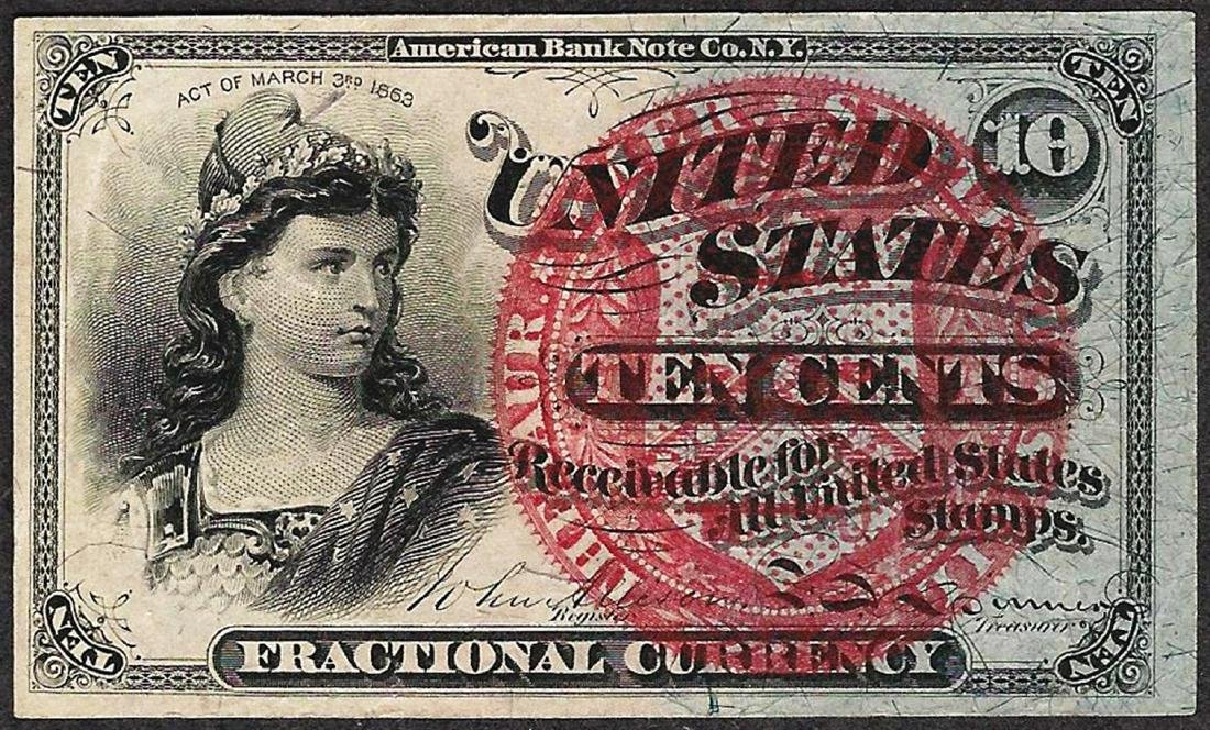 March 3, 1863 10 Cents Fourth Issue Fractional Currency