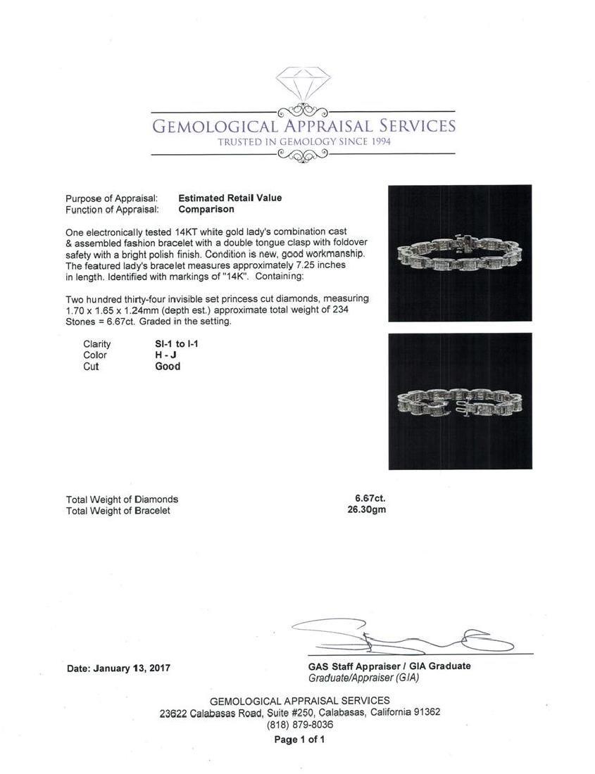 14KT White Gold 6.67 ctw Diamond Bracelet - 4