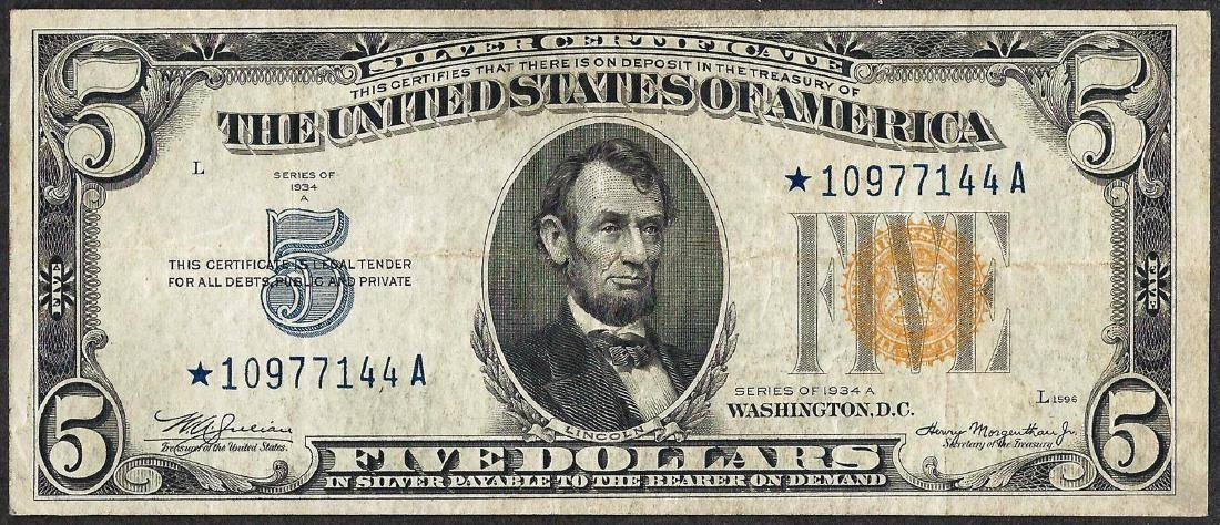 1934A $5 Silver Certificate WWII Emergency North Africa