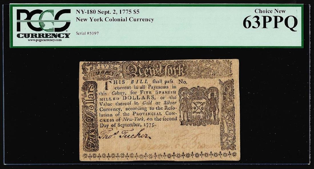 September 2, 1775 $5 New York Colonial Currency Note