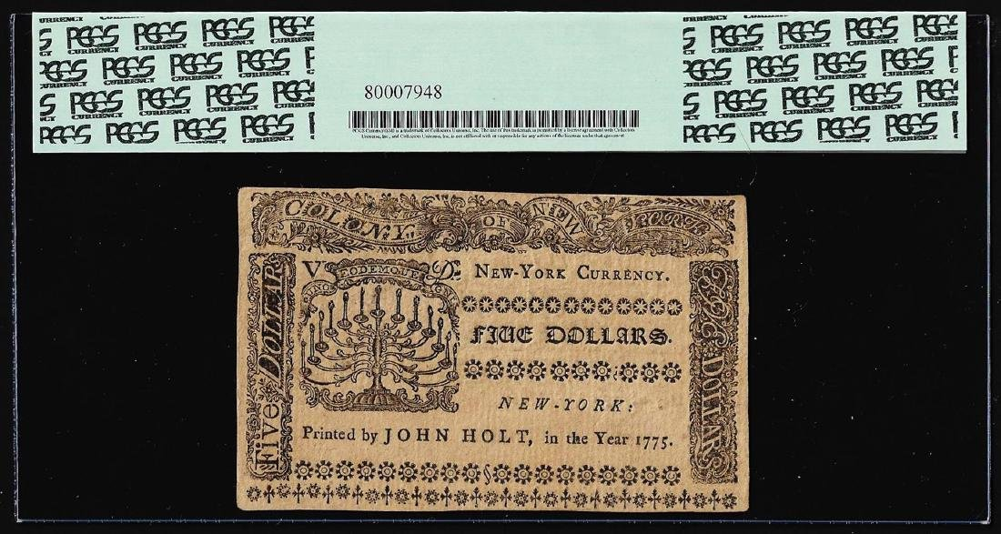 September 2, 1775 $5 New York Colonial Currency Note - 2