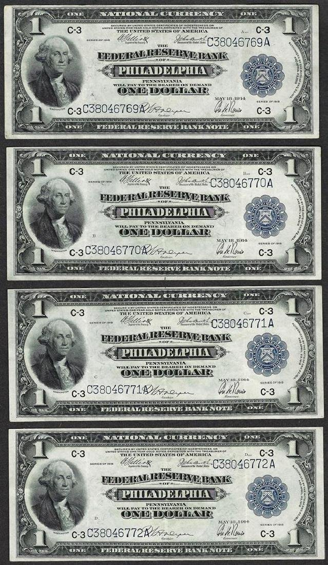 Lot of (4) Consecutive 1918 $1 Federal Reserve Bank