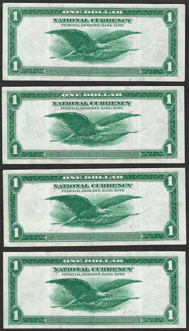 Lot of (4) Consecutive 1918 $1 Federal Reserve Bank - 2
