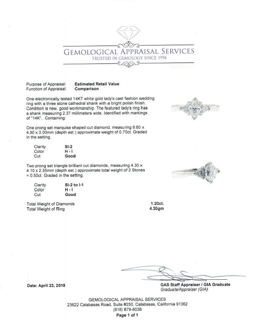14KT White Gold 1.20 ctw Diamond Ring - 5