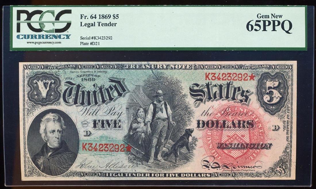1869 $5 Rainbow Legal Tender Note Fr.64 PCGS Gem New