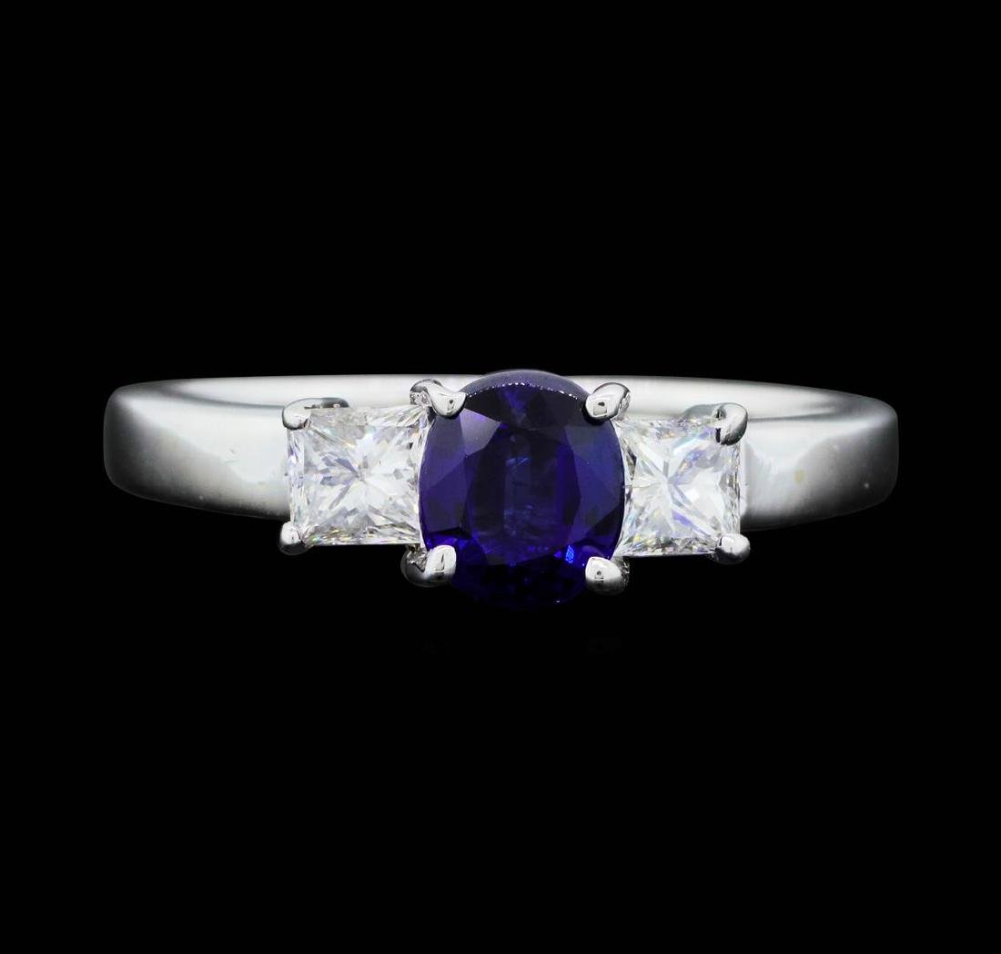 14KT White Gold 0.85 ct. Natural Blue Sapphire and