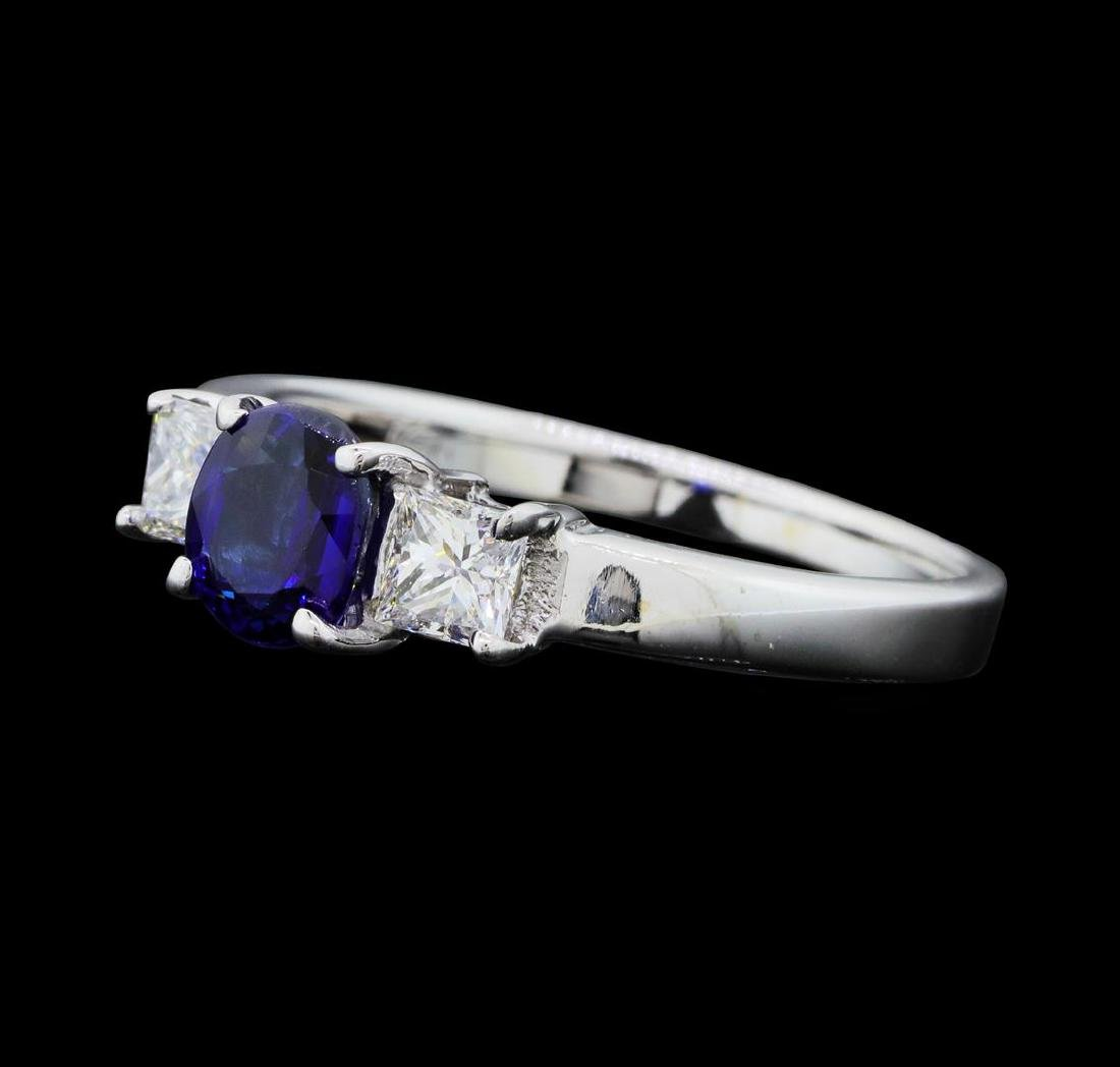 14KT White Gold 0.85 ct. Natural Blue Sapphire and - 2