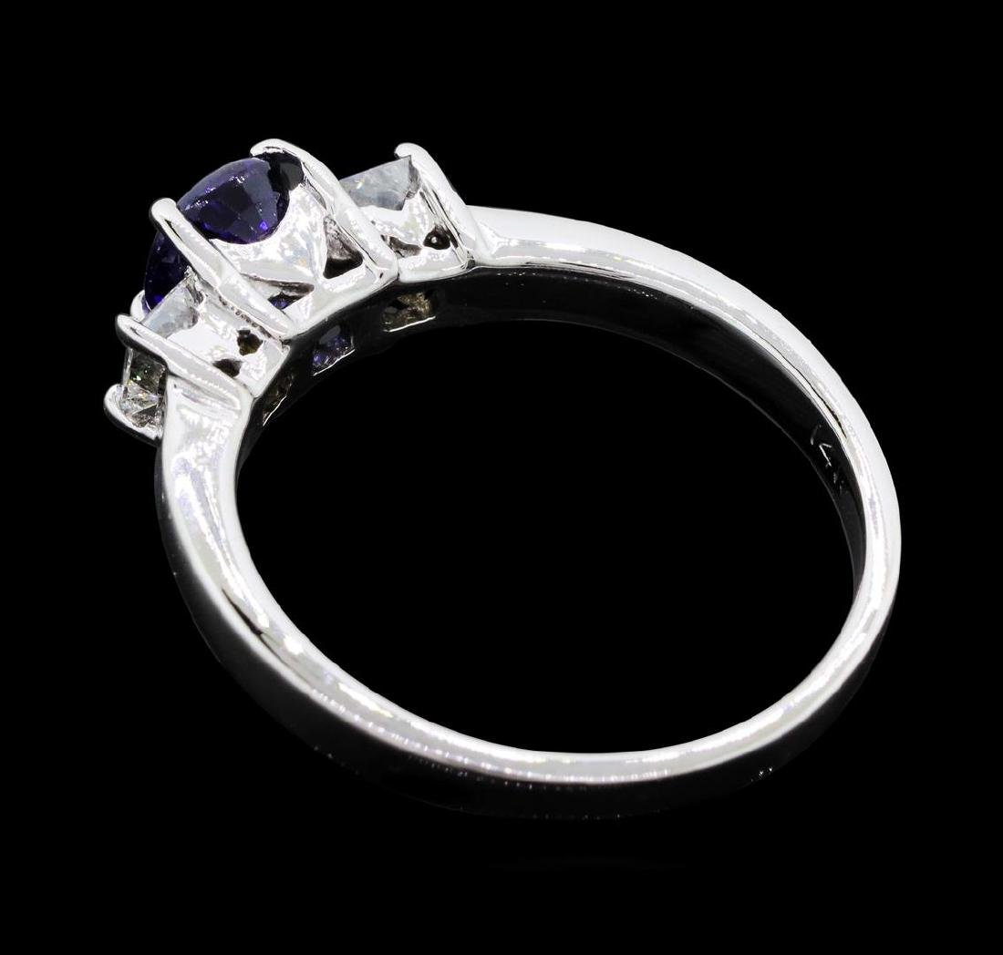 14KT White Gold 0.85 ct. Natural Blue Sapphire and - 3
