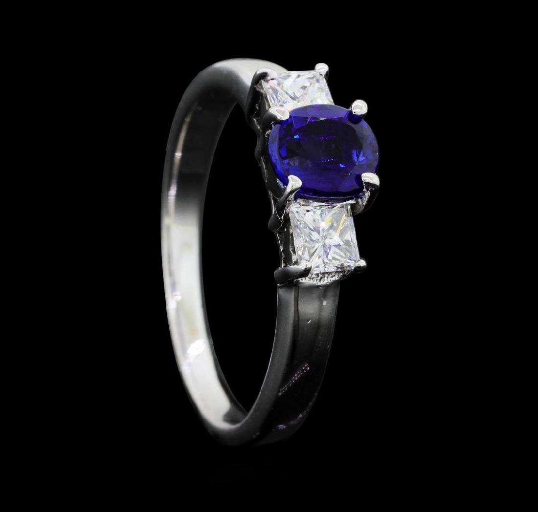 14KT White Gold 0.85 ct. Natural Blue Sapphire and - 4