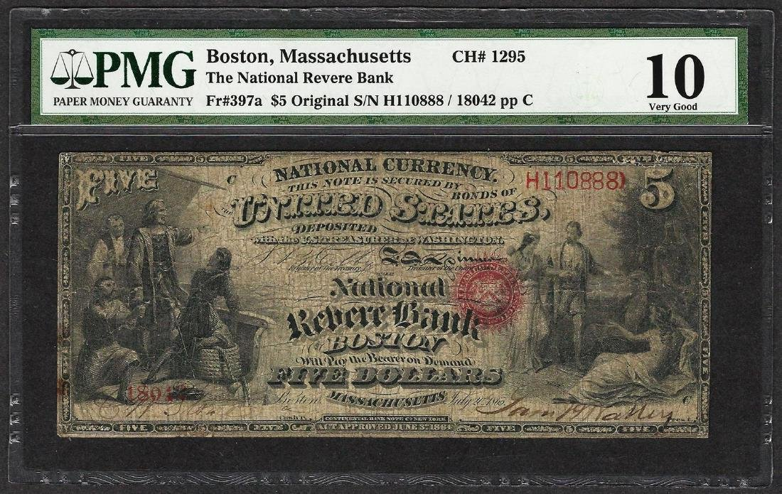 First Series $5 National Reserve Bank Boston, MA CH#