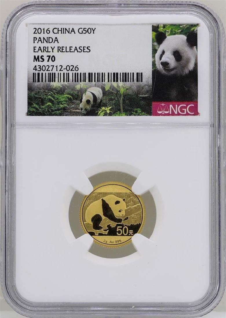 2016 China 50 Yuan 3 Gram Panda Gold Coin NGC MS70