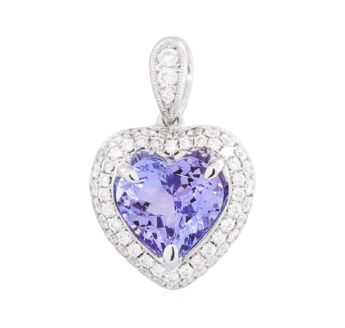 18KT White Gold 1.78 ctw Tanzanite and Diamond Pendant