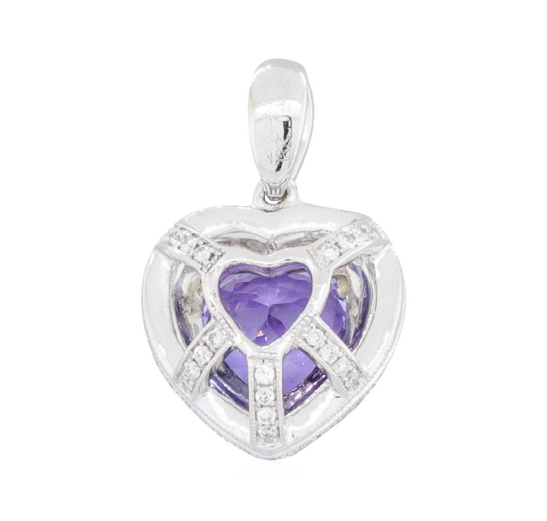 18KT White Gold 1.78 ctw Tanzanite and Diamond Pendant - 2