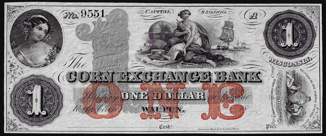 1800's $1 Corn Exchange Bank Obsolete Note