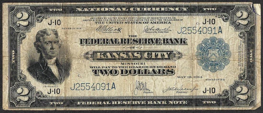 1918 $2 Battleship Federal Reserve Bank Note Kansas