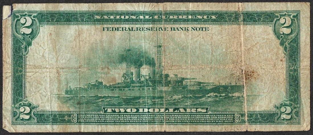 1918 $2 Battleship Federal Reserve Bank Note Kansas - 2