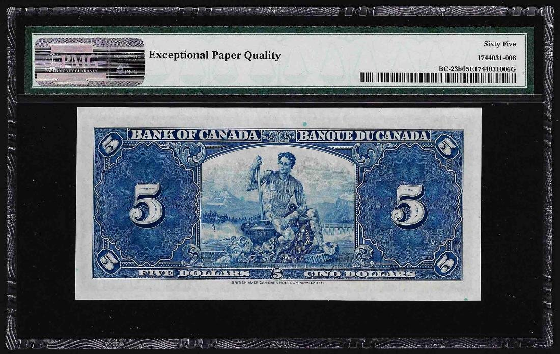 1937 $5 Bank of Canada Note PMG Gem Uncirculated 65EPQ - 2