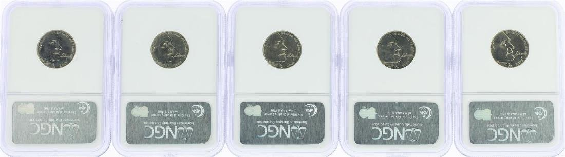 Lot of (5) 2005 Bison Nickel Coins NGC MS64 - 2