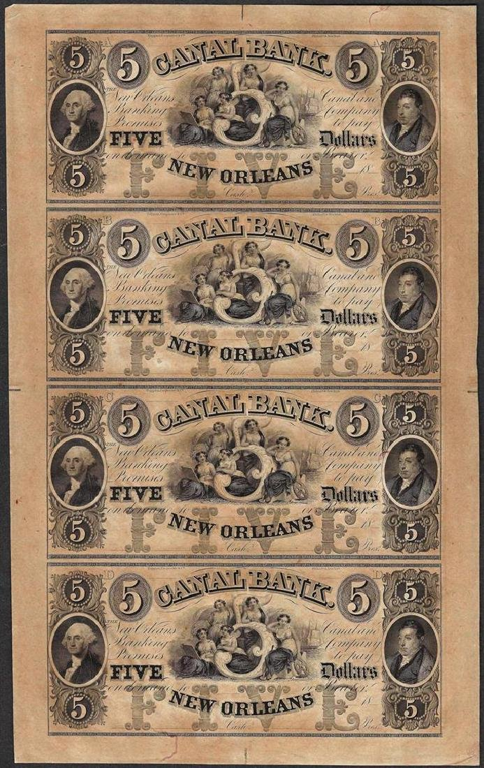 Uncut Sheet of 1800's $5 Canal Bank Obsolete Notes