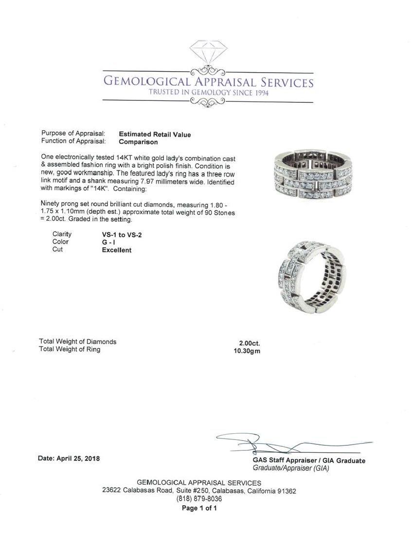 14KT White Gold 2.00 ctw Diamond Ring - 4