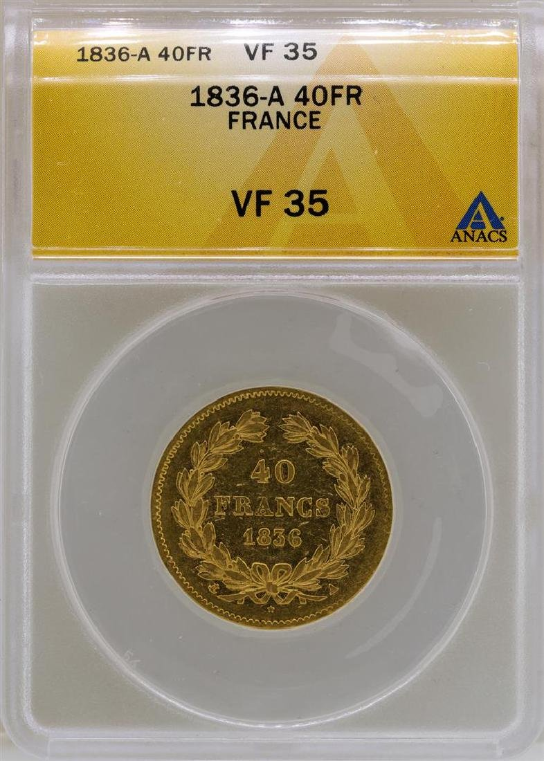 1836-A France 40 Francs Gold Coin ANACS VF35