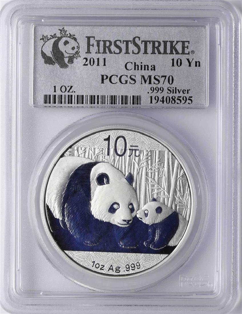 2011 China Silver Panda Coin PCGS MS70