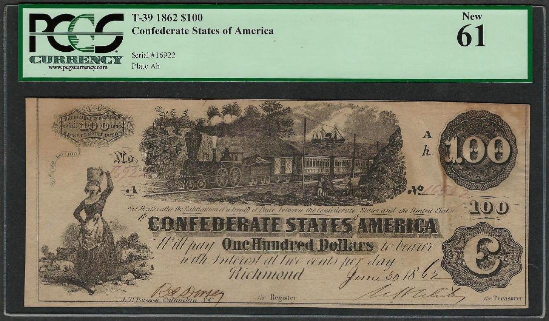 1862 $100 Confederate States of America Note T-39 PCGS