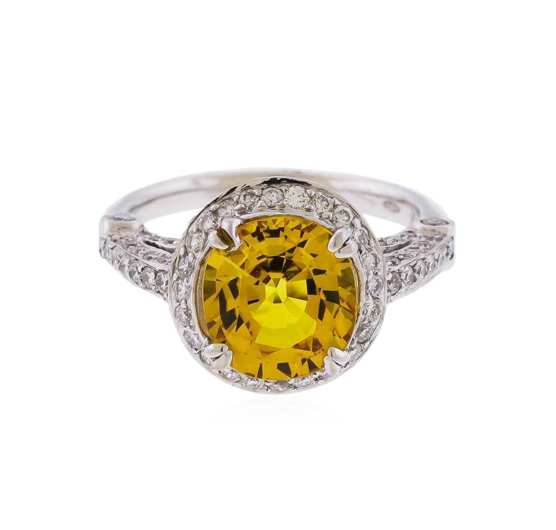 14KT White Gold 3.86 ctw Yellow Sapphire and Diamond