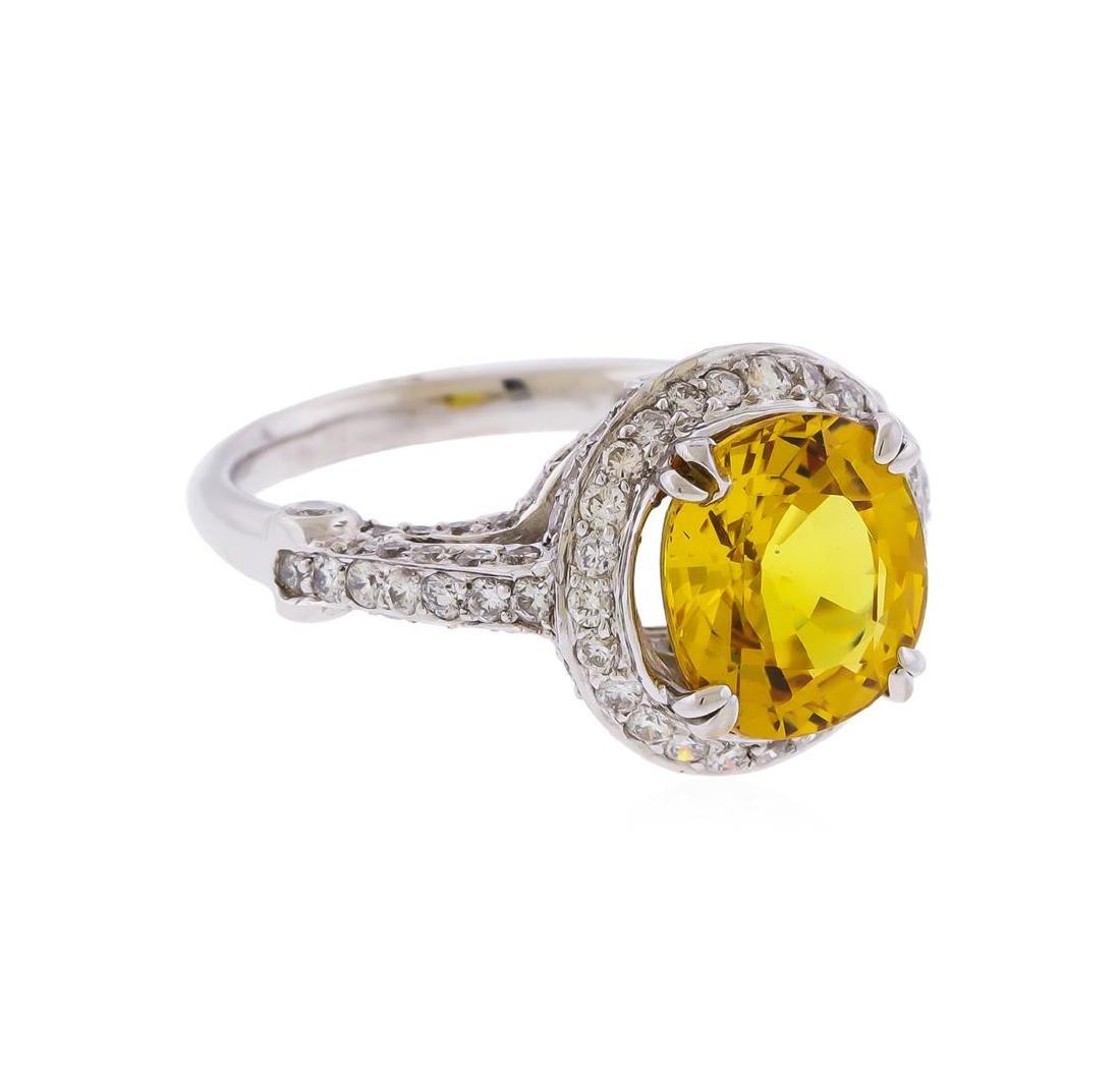 14KT White Gold 3.86 ctw Yellow Sapphire and Diamond - 2