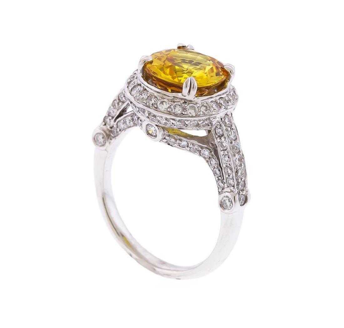 14KT White Gold 3.86 ctw Yellow Sapphire and Diamond - 3