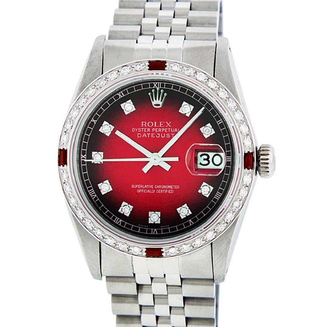 Rolex Men's Stainless Steel Red Vignette Diamond & Ruby