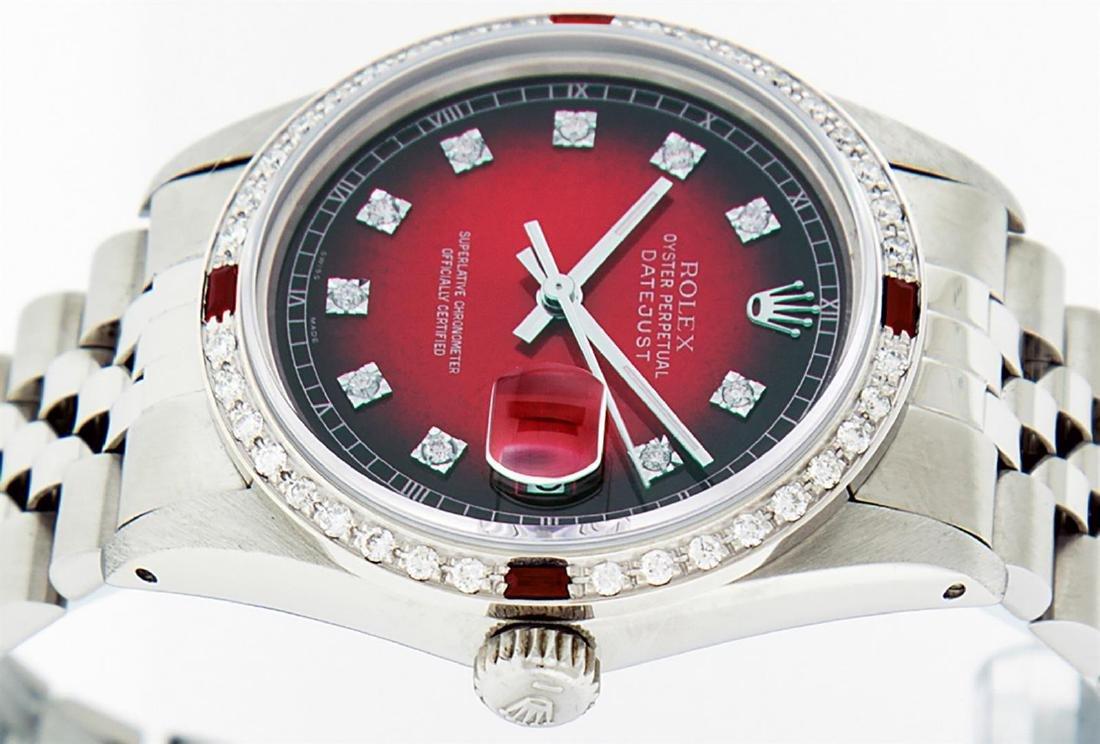 Rolex Men's Stainless Steel Red Vignette Diamond & Ruby - 4