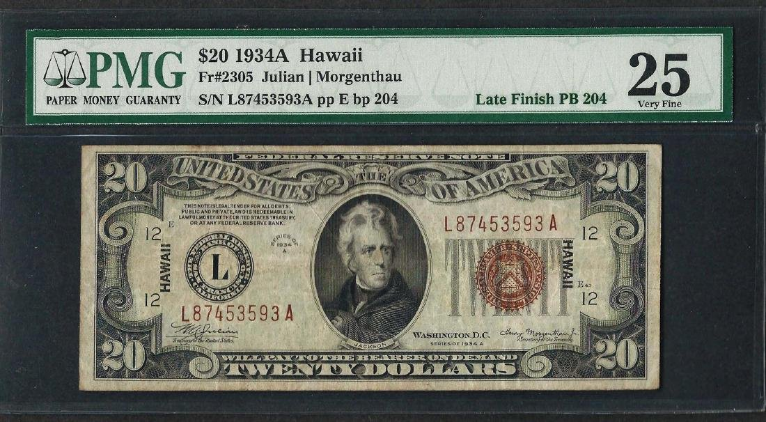 1934A $20 Hawaii Federal Reserve WWII Emergency Note