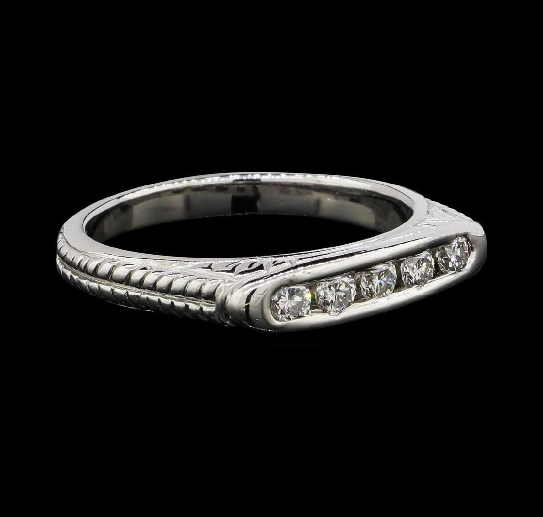 Platinum 0.30 ctw Diamond Engraved Scroll Design Ring - 2