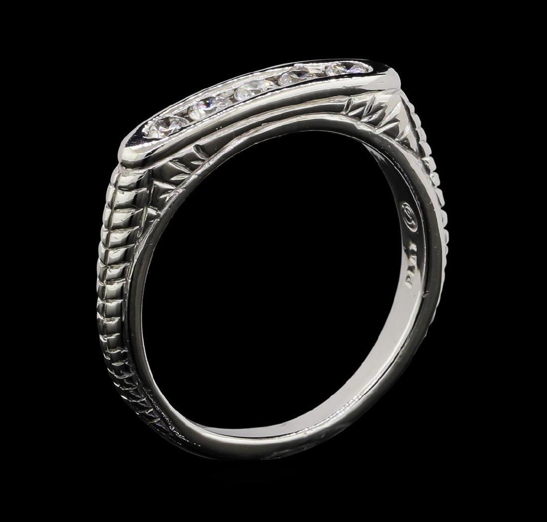 Platinum 0.30 ctw Diamond Engraved Scroll Design Ring - 4