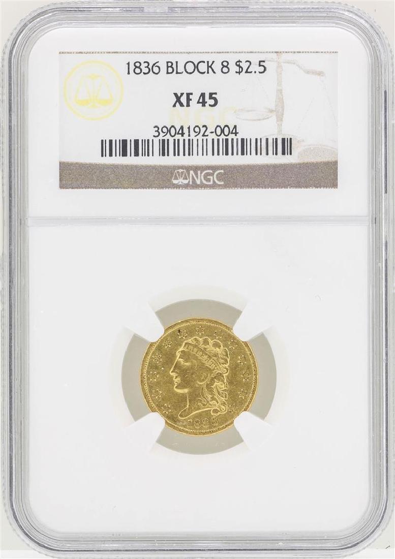 1836 Block 8 $2 1/2 Classic Head Quarter Eagle Gold